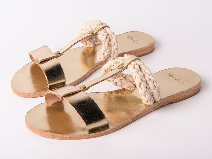 Eleanna Katsira Sandals | Eleanna Katsira chose to give rope - frequently used in sailing and climbing - a new life by combining it with top quality leather and adding it to her SS16 designs! All Eleanna Katsira Sandals bear names of Greek islands and have been created for those of us seeking aesthetics even in our most minimal and casual looks. | Greek Sandals