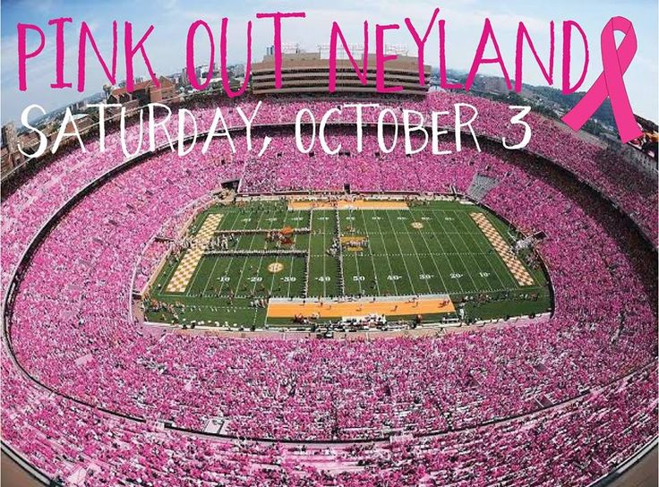 """University of Tennessee sorority, Zeta Tau Alpha, is encouraging attendees of Saturday's football game against Arkansas to wear pink, in order to create a """"Pink Out"""" in the stadium."""