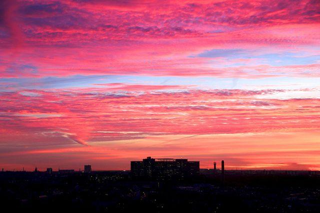 Copenhagen, Denmark during sunset. Rigshospitalet (Copenhagen University Hospital) is seen in the background.