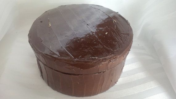 MEDIUM Faux Chocolate Frosted Cake Box by ReadyMadeGifts on Etsy, $27.99. Would make a beautiful gift!