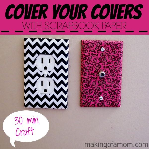 How to Cover Your Light Switch Covers with scrapbook paper