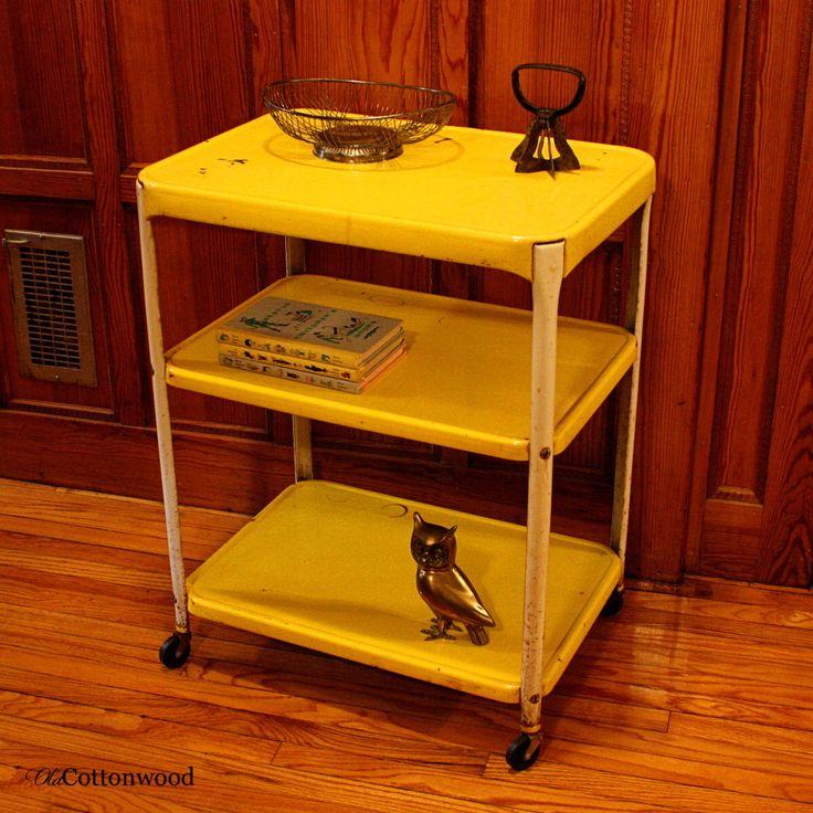 Vintage Metal Cart Serving Cart Kitchen Cart By Oldcottonwood