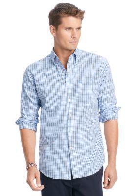 Izod Men's Big & Tall Essential Tattersall Shirt - Blue - 2Xlt