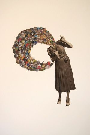 Lucy James bird girl flappin' and squawkin' 2012, collage on paper