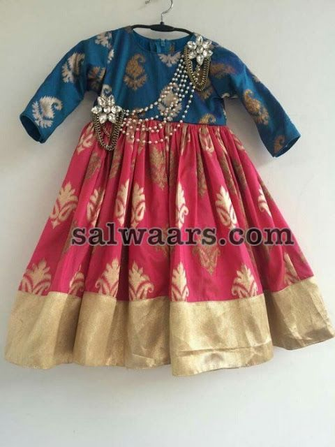 Pink and Blue Ikkat Frock - Indian Dresses