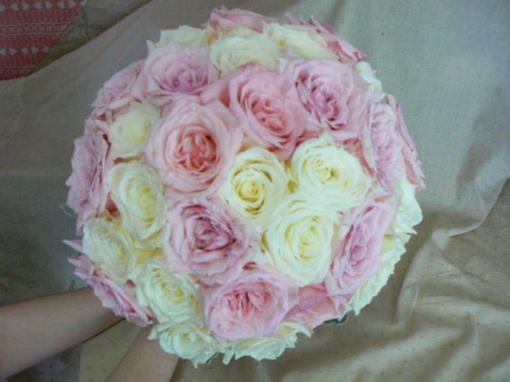 Pretty white & pale pink rose posy