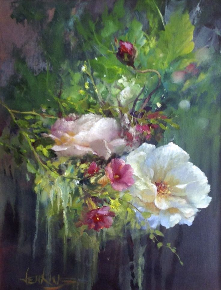 528 best gary jenkins painting images on pinterest for Floral acrylic paintings
