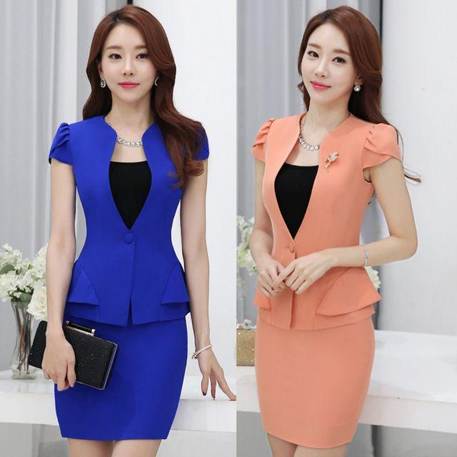 2016 Verano delgado falda de las mujeres trajes de Negocios formal señoras de la oficina elegante chaqueta con falda más el tamaño de trabajo de manga corta desgaste