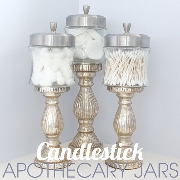 DIY silver metallic painted Candlestick with Jars for glamourous bathroom storage. by lorid54