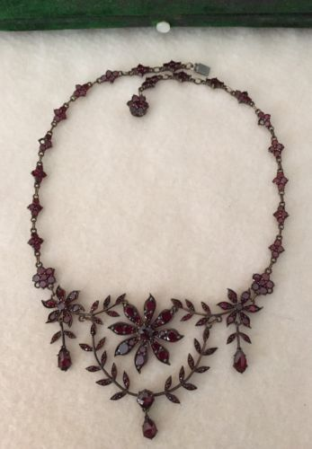 """Victorian Bohemian Garnet Garland & Swag 15"""" Necklace Choker w/ Antique Box  in Jewelry & Watches, Vintage & Antique Jewelry, Fine, Victorian, Edwardian 1837-1910, Necklaces & Pendants   eBay                                                                                                                                                                                 More"""