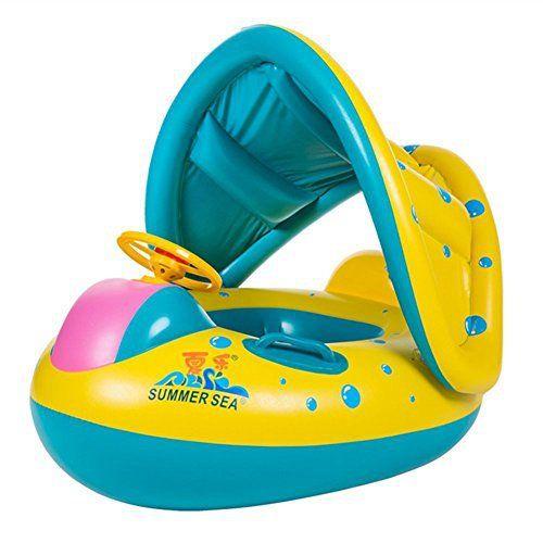 TOAOB Bouée Bébé Flotteur Bateau Anneau de Natation Siège Gonflable Floating Jouet avec Pare-soleil pour Bébés Enfants für 0 – 3 ans:…