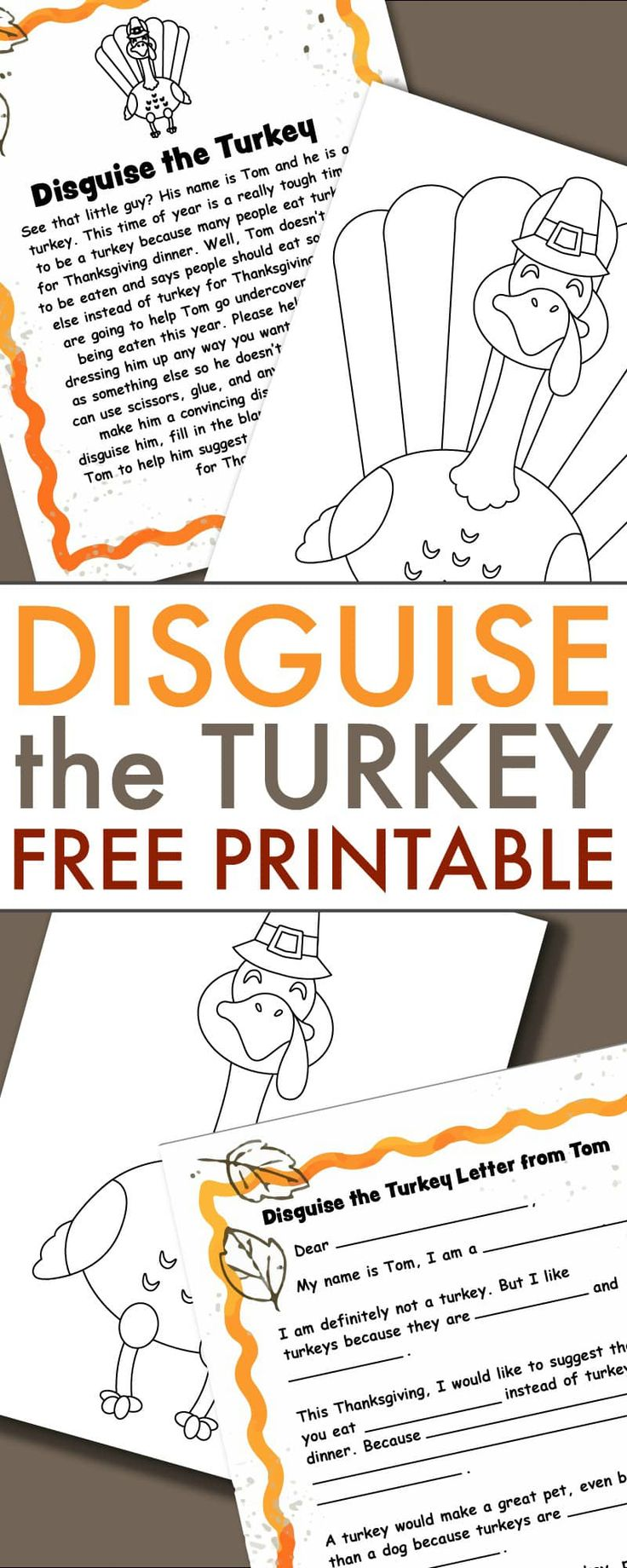 Turkey in Disguise Project free printable Thanksgiving template for home and classroom