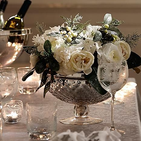 Bloomsberry Glass Pedestal Bowl & Floral Centrepiece - Large winter centrepiece arrangement with icy foliage and mixed flowers in a glass pedestal bowl. Fabulous for your Christmas table, but perfect for year round use too! #Kitchen #Dining #Home #Kaleidoscope
