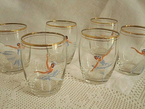 Vintage Ballerina Glasses  Set of Six   by silvermoonnostalgia