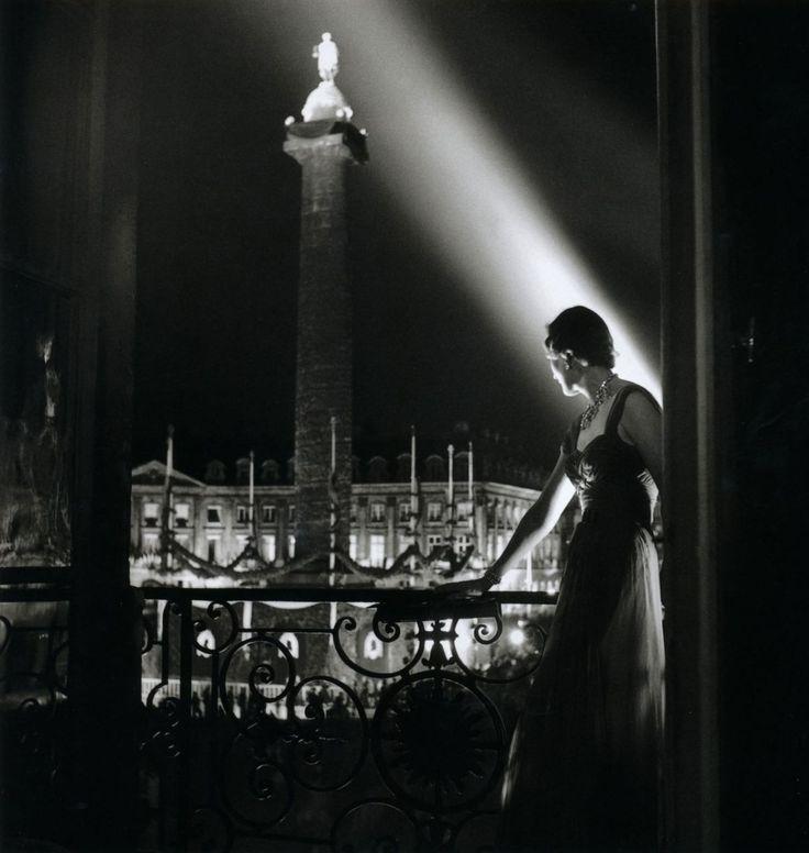Robert Doisneau - Place Vendôme from a balcony at night, 1950