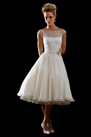 Retro Modest 50s 60s Short Tea Length White Wedding Dress