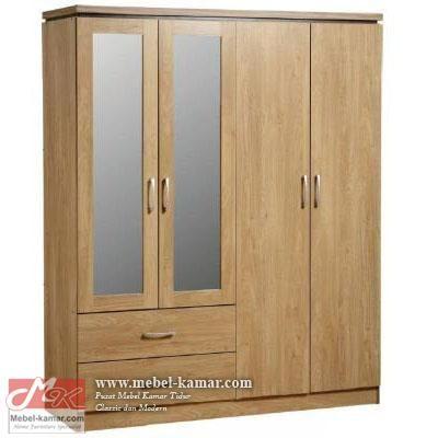 Lemari Pakaian 4 Pintu Kaca Jati Minimalis, pusat produksi lemari pakaian 4 pintu modern, mebel modern dan minimalis