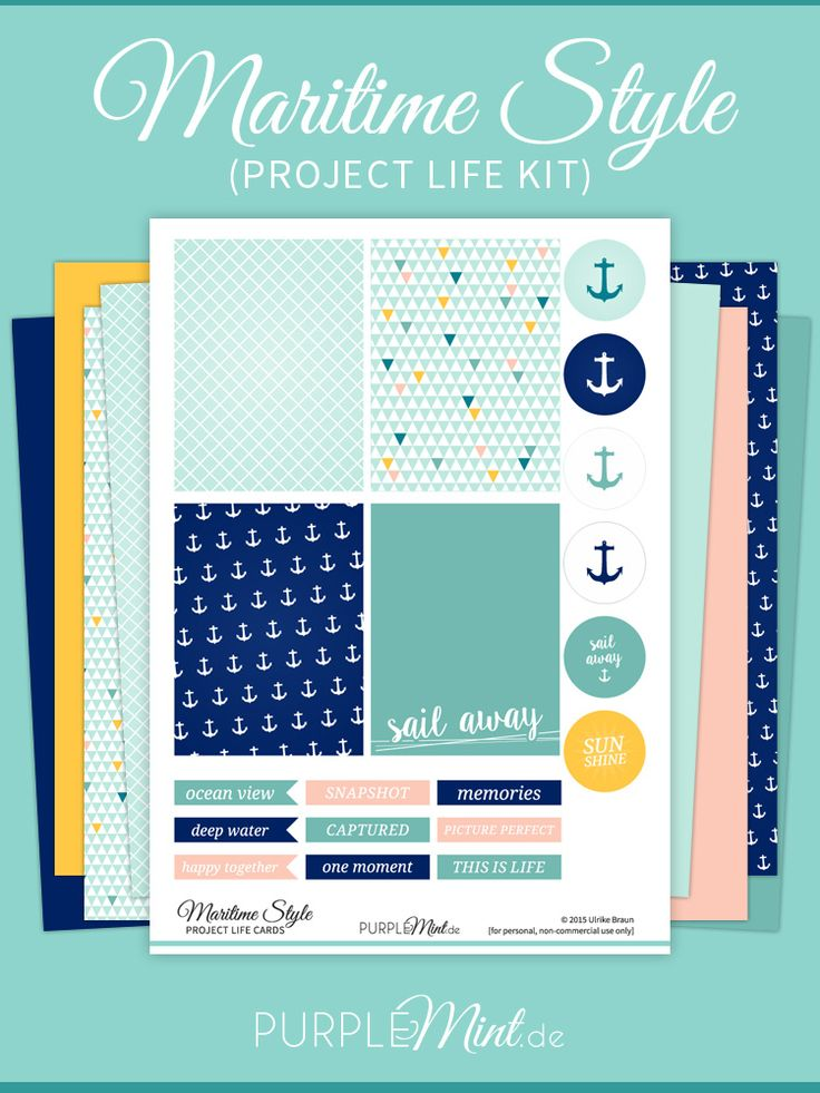 Free Project Life Kit - Maritime Style {Cards, Labels and Papers}