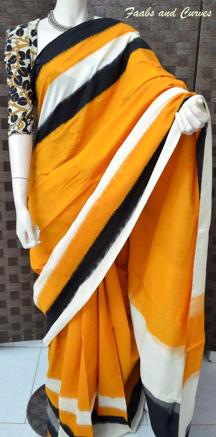 Ikkat Cotton Saree with Kalamkaari Blouse