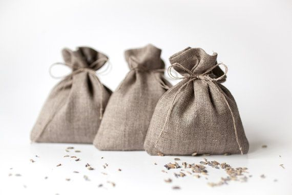 Natural linen drawstring small gift pouches 50 set - Rustic wedding favor 50 linen gift bags