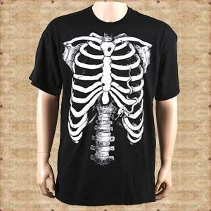 A White Skeleton on a Mens Black T shirt. A classic whether at halloween, clubbing or just casual wear. The White Skeleton T shirt by Omen clothing in the Skulls and Dragons clothing range.    Made from cotton    Ref : SDBBZ509   Price : 12.99 GBP