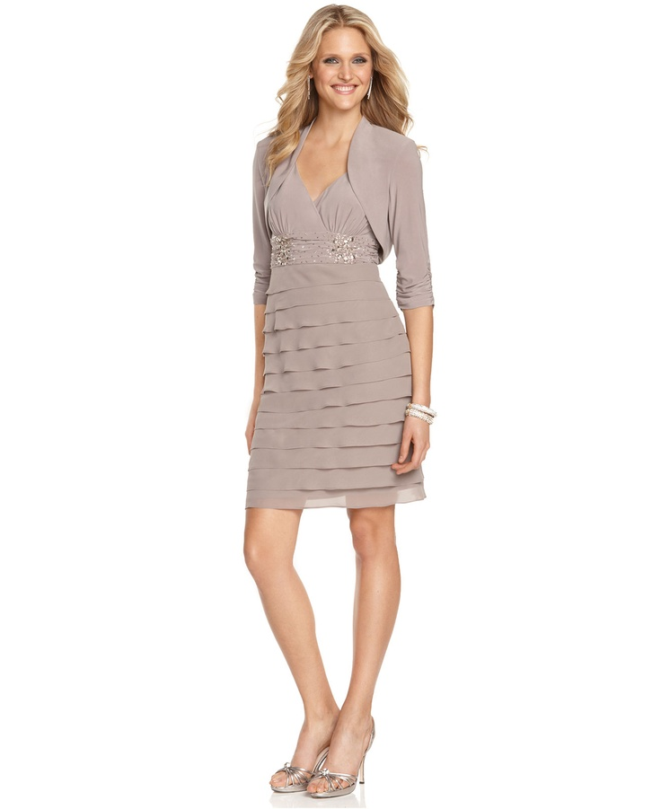 Sl Fashions Dress Sleeveless Petal Tiered Beaded Dresses