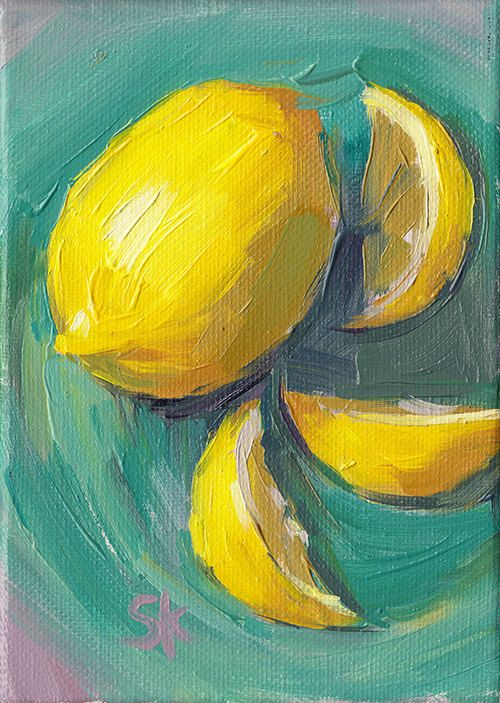 lemon kitchen art oil painting  5 x 7  Lemon Swirl by MadAboutHue