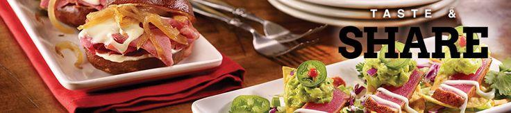 Fridays Garlic and Basil bruschetta 350 calories, corned beef and swiss sliders 510, hibachi skewers chicken 470,  sirloin 490, seasoned fries 290 mashed potatoes 210
