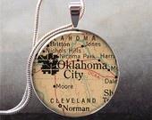 Vintage Oklahoma City, Oklahoma map pendant charm, vintage map pendant map necklace pendant. $8.95, via Etsy.