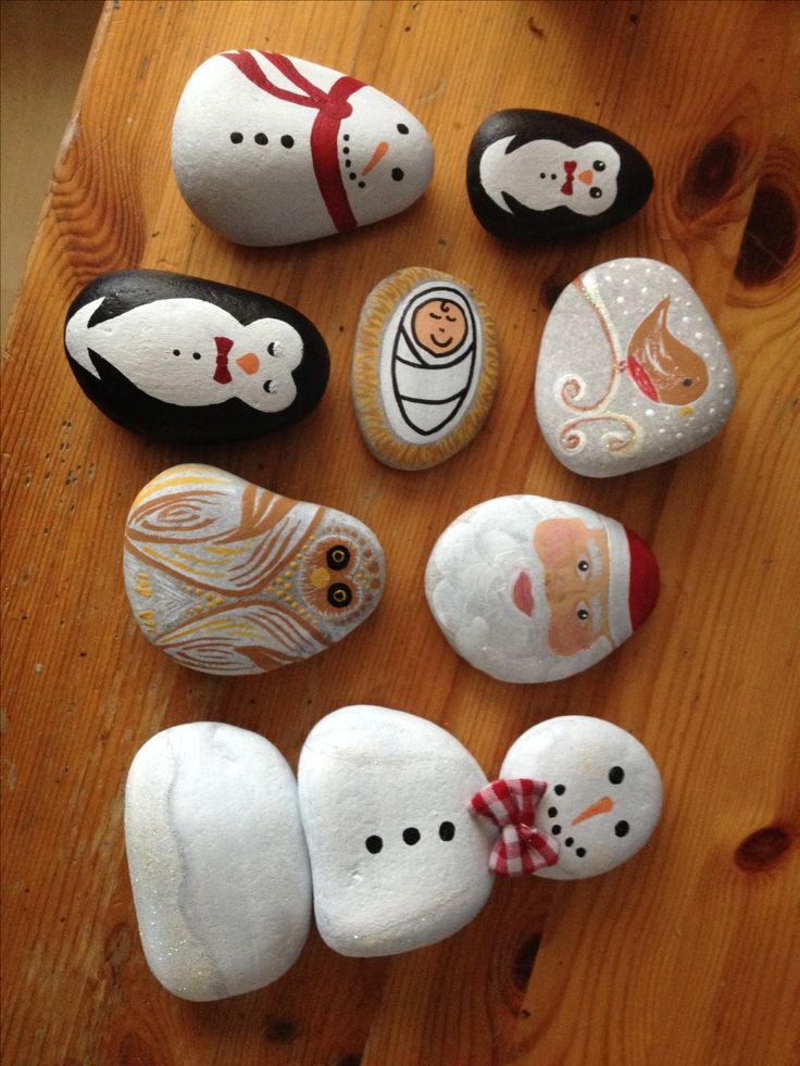 Christmas pebbles / rocks - the finished first batch! Xx