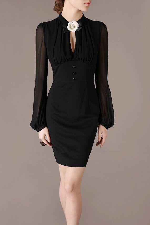 2013 Autumn Mysterious Black Chiffon Dress Vintage British Style Dresses Hepburn Favor Chiffon Prom Dress Puff Long sleeve