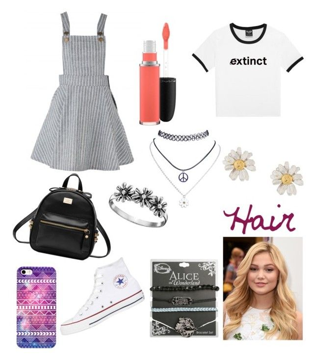 """Holly Ferris #2"" by lucyxann ❤ liked on Polyvore featuring Converse, Wet Seal, Disney, Alex Monroe, Primrose and MAC Cosmetics"