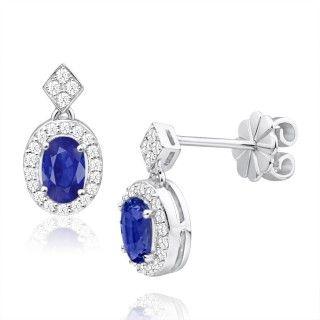 Earrings, stud earrings, drop earrings, sapphire and diamonds set earrings, online jewellery, gold, grahams jewellers