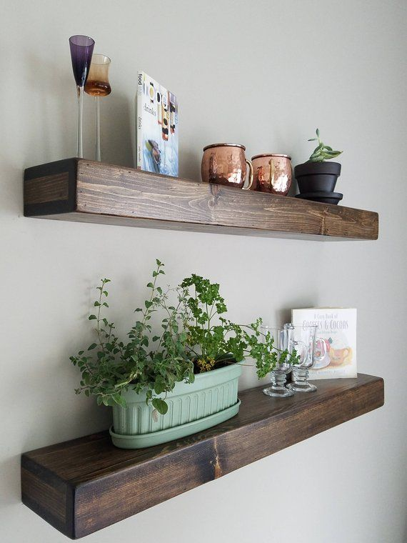 Shipping Included Floating Wood Shelves Etsy With Images