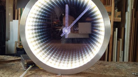 Infinity Mirror Clock Making http://www.justleds.co.za