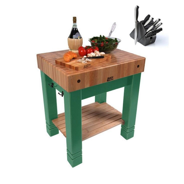 John Boos 30x24 Maple Butcher Block Table CU-BB3024 With Henckels 13-piece Knife Set