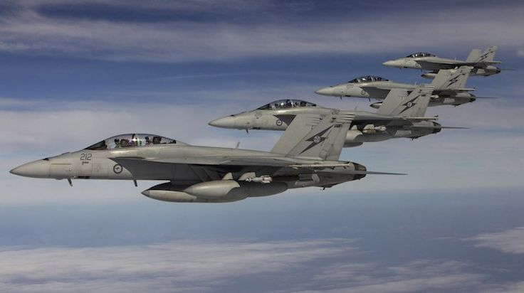 Operation OKRA. Four of the six RAAF Super Hornets on deployment with Operation OKRA. (Defence)