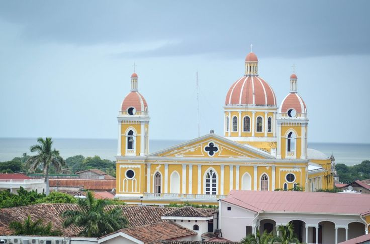 View of the Granada Cathedral and Lake Nicaragua from La Merced | Granada, Nicaragua.