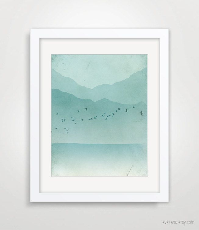 Ocean Abstract Landscape, Beach Cottage Decor, Nautical Decor, Seascape. $18.00, via Etsy.