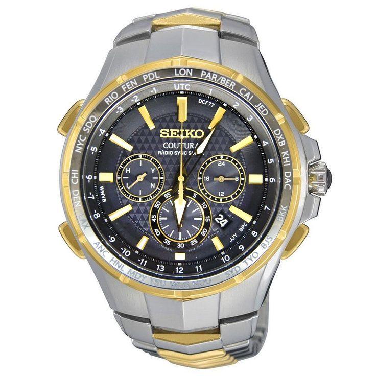 New Seiko Coutura Radio Sync Solar Chronograph Two Tone Steel Mens Watch SSG010