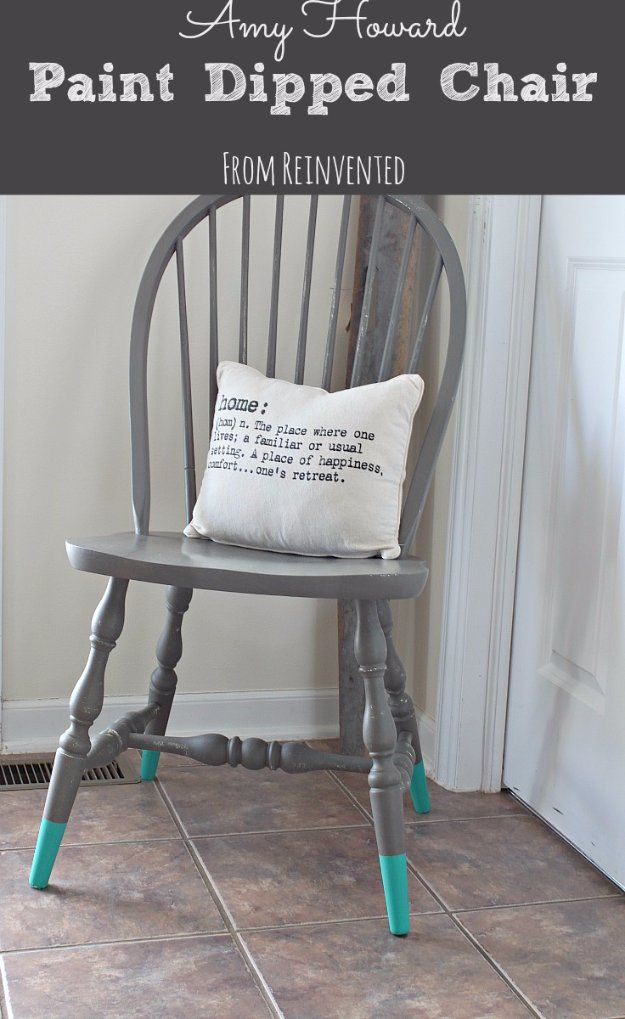DIY Chalk Paint Furniture Ideas With Step By Step Tutorials - Chalk Paint Dipped Chair - How To Make Distressed Furniture for Creative Home Decor Projects on A Budget - Perfect for Vintage Kitchen, Dining Room, Bedroom, Bath http://diyjoy.com/chalk-paint-furniture-ideas