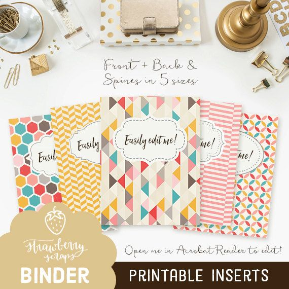 Binder cover printable: COLORFUL GEOMETRIC 5x set