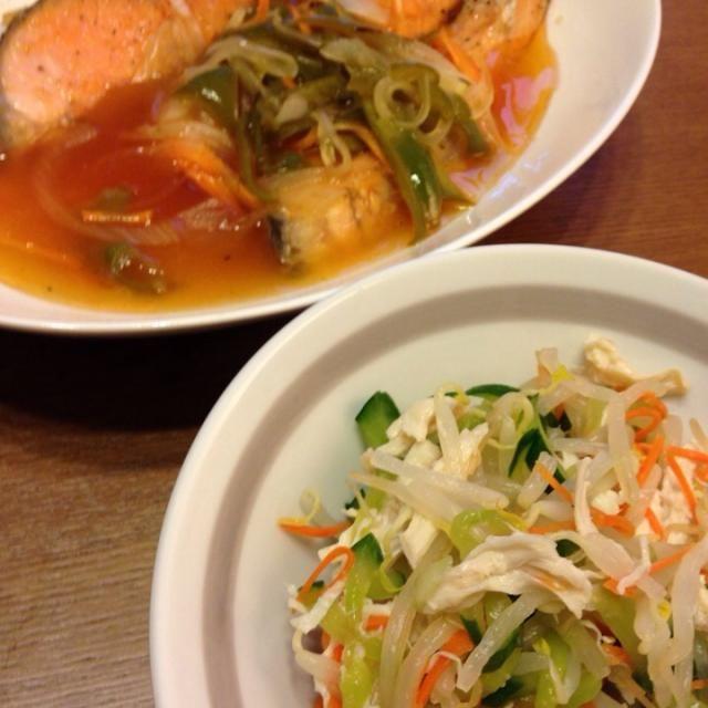 今日は鮭のあんかけ、酢の物、やきそば、餃子… - 11件のもぐもぐ - 鮭のあんかけ、酢の物 8/14 by KOo yamazaki