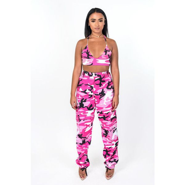 Pink Nikki Camo Pants ❤ liked on Polyvore featuring pants, white trousers, camo cargo pants, camoflauge pants, cargo pants and white camouflage pants
