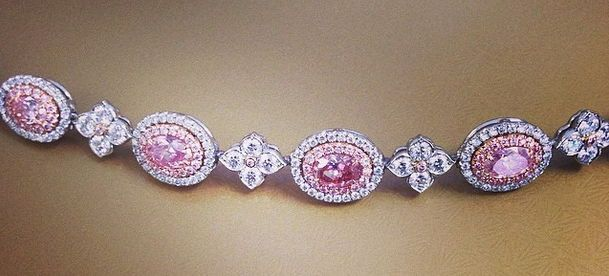 Pink Diamond Bracelet made with 9 Oval Pink Diamonds. Estimated price is $180,000-$230,000. The bracelet will be auctioned at Christie's May 27th 2014.