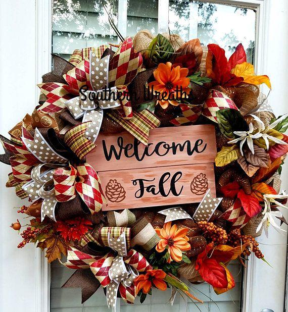 Fall Front Door Wreath Welcome Wreath Thanksgiving