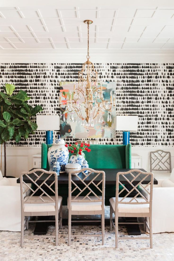 Eclectic Dining Room With Black And White Wallpaper