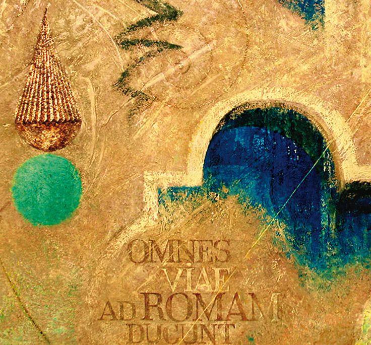 """OMNES VIAE AD ROMAM DUCUNT - ВСЕ ДОРОГИ ВЕДУТ В РИМ"" , холст, рельефная паста, акрил, золотая фольга, 170x120 см (фрагмент) ""OMNES VIAE AD ROMAM DUCUNT - ALL ROADS LEAD TO ROME"", canvas, relief paste, acrylic, golden foil, 170x120 cm (fragment). more - https://www.facebook.com/boris.lavrentyev/media_set?set=a.127625367266813.18605.100000580506699&type=3"