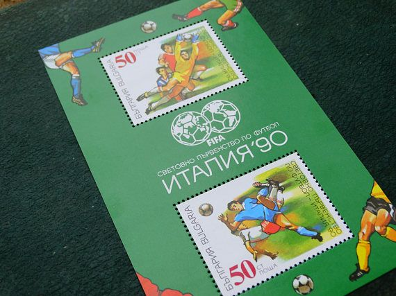 Postage stamp 1990 World Cup Italy Mint Set of 2 Bulgaria, Collectible stamps, Vintage Postal Used Old Stamps, Stamp Collecting