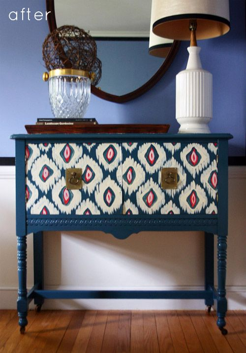 ikat, really pretty: Paintings Furniture, Diy Patterns Furniture, Side Table, Furniture Makeovers, Furniture Redo, Paintings Dressers, Ikat Patterns, Paintings Patterns Furniture, Ikat Painting